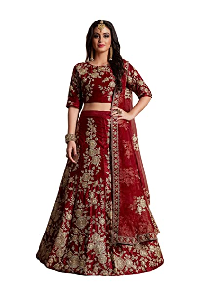 b99a63fe85 SK Clothing Bridal Collection Velvet Silk Maroon machine embroidery lehenga  choli with sequins embellished for women(AD359M, Free size): Amazon.in:  Clothing ...