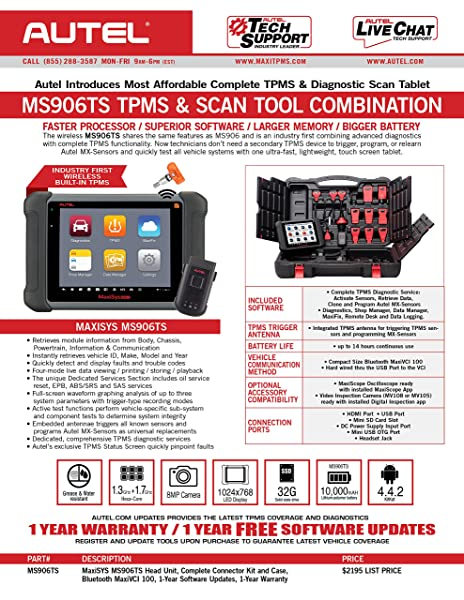 Autel MS906TS is designed for professional tech and car enthusias