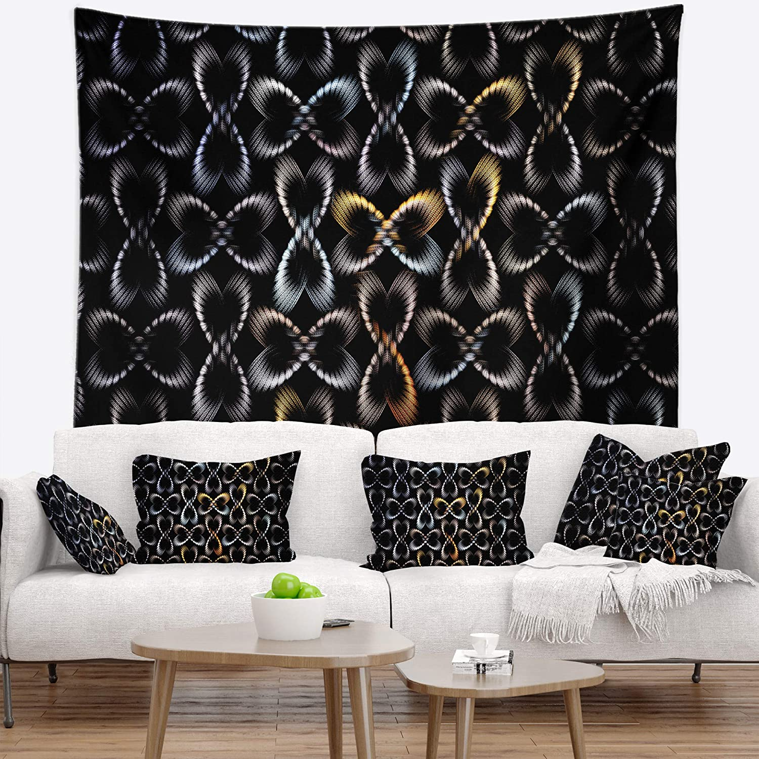 Created On Lightweight Polyester Fabric Designart TAP16520-39-32  Yellow Pattern of Butterflies Abstract Blanket D/écor Art for Home and Office Wall Tapestry Medium 39 in x 32 in