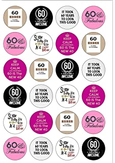 24 Precut Age 60 Sixty Sixtieth 60th Birthday Edible Wafer Paper Cake Toppers Decorations