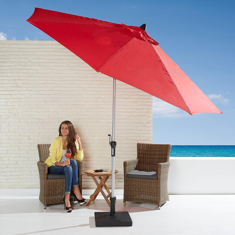 Sonnenschirm Set rot mit Kurbel und Schirmfuß Schirm kippbar Gartenschirm