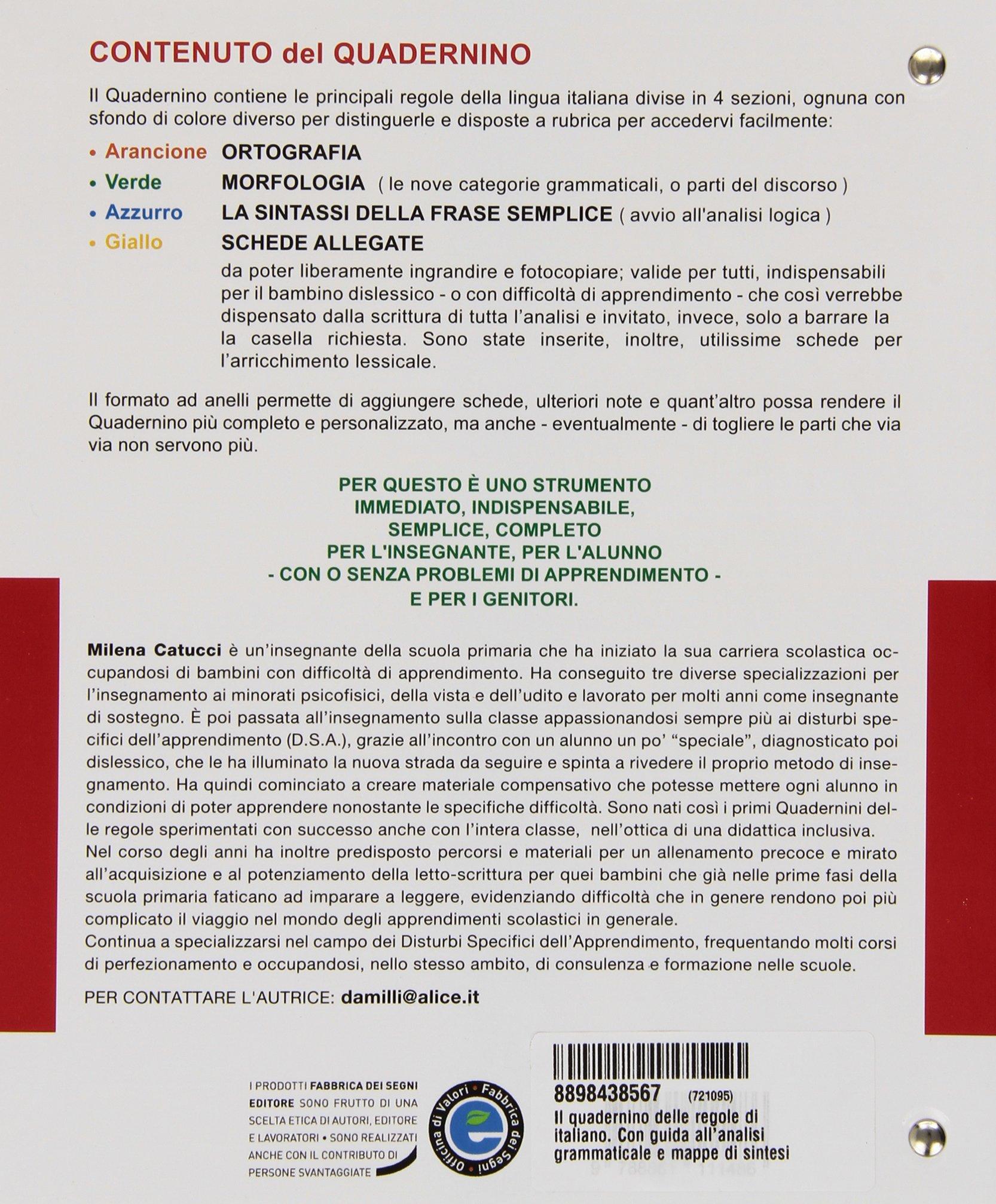 Conosciuto Il quadernino delle regole di italiano. Con guida all'analisi  AV62