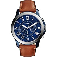 Fossil Men's Grant Quartz Stainless Steel and Leather Chronograph Watch (Brown)