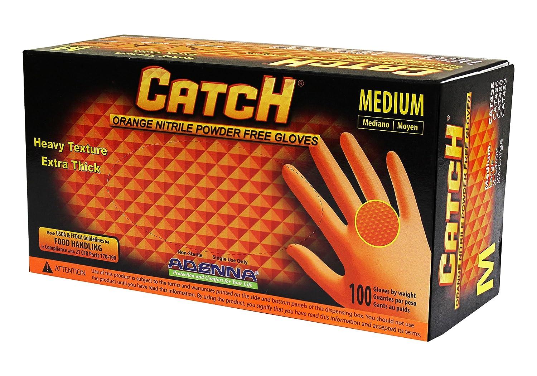 Adenna Catch 8 mil Nitrile Powder Free Gloves (Orange, Medium) Box of 100 Adenna Inc. CAT455
