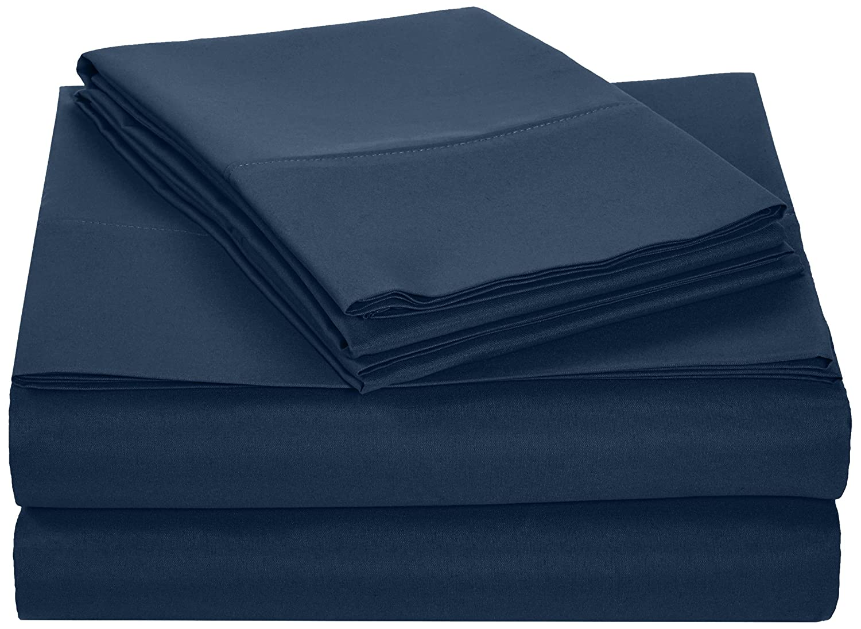 Color Azul Marino Basics Juego de s/ábanas de Microfibra poli/éster