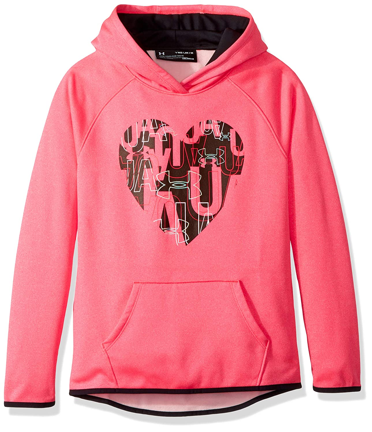 Under Armour Girls armourfleece Hoody Heart Icon, Penta Pink Light HEA (975)/Black, Youth Under Armour Apparel 1317834