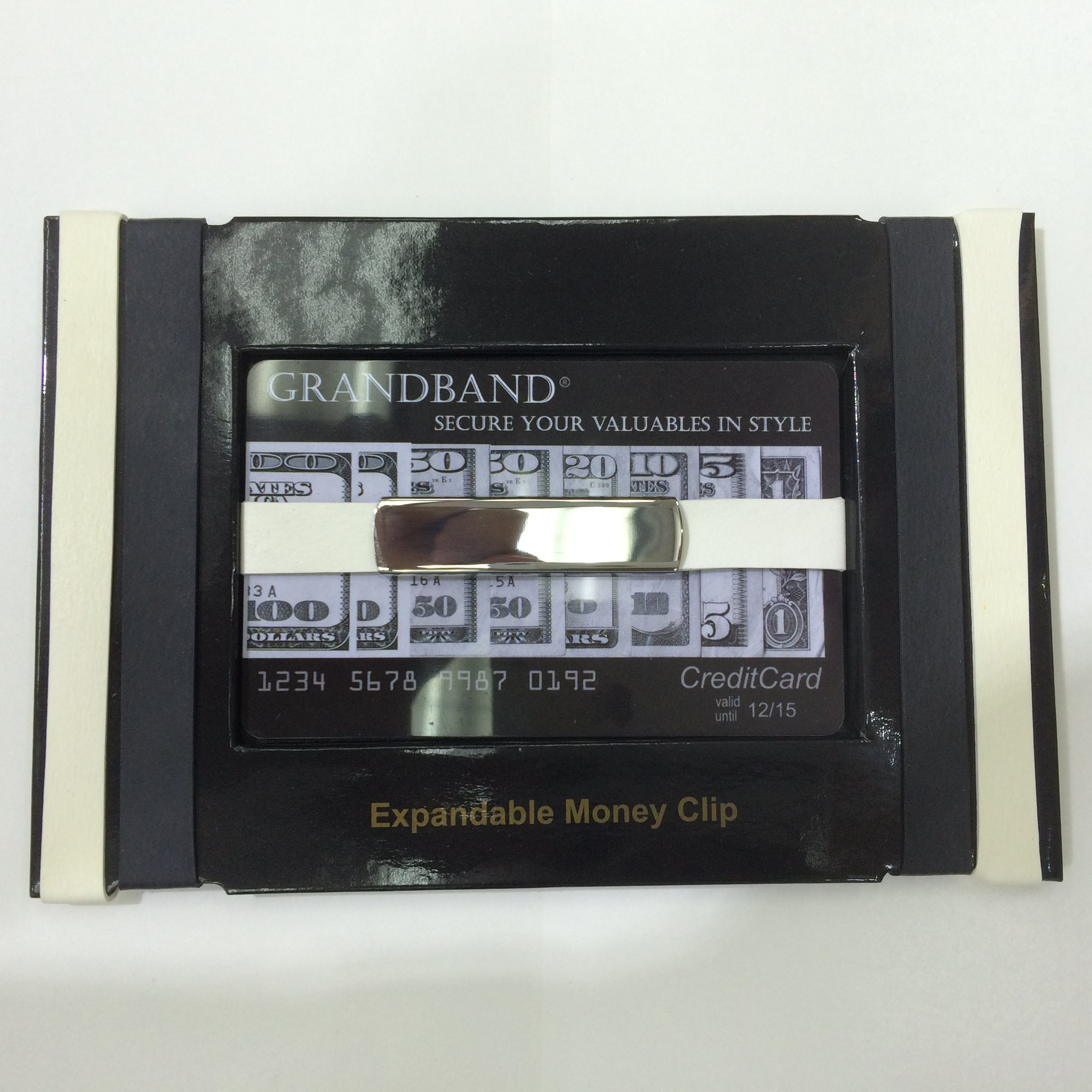 Money Band, Grand Band Stainless Steel & Rubber Money Band. BLACK&WHITE