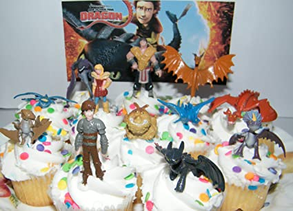 Amazon how to train your dragon set of 12 figure cake toppers how to train your dragon set of 12 figure cake toppers cupcake party favor decorations ccuart Choice Image