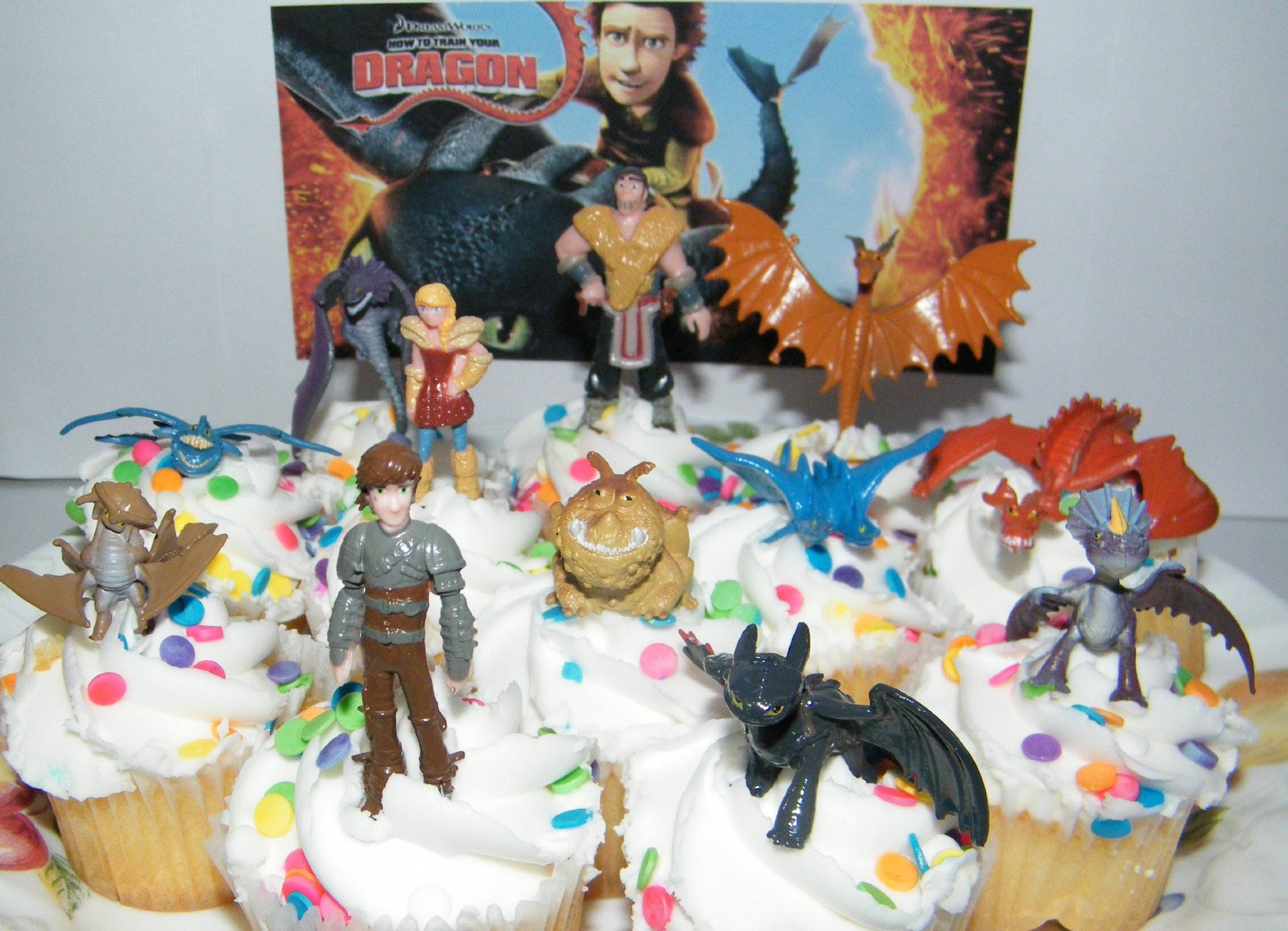 How to Train Your Dragon Set of 12 Figure Cake Toppers / Cupcake Party Favor Decorations with 9 Dragons, Hiccup, Astrid and Some New Charcters! by DreamWorks How to Train Your Dragon