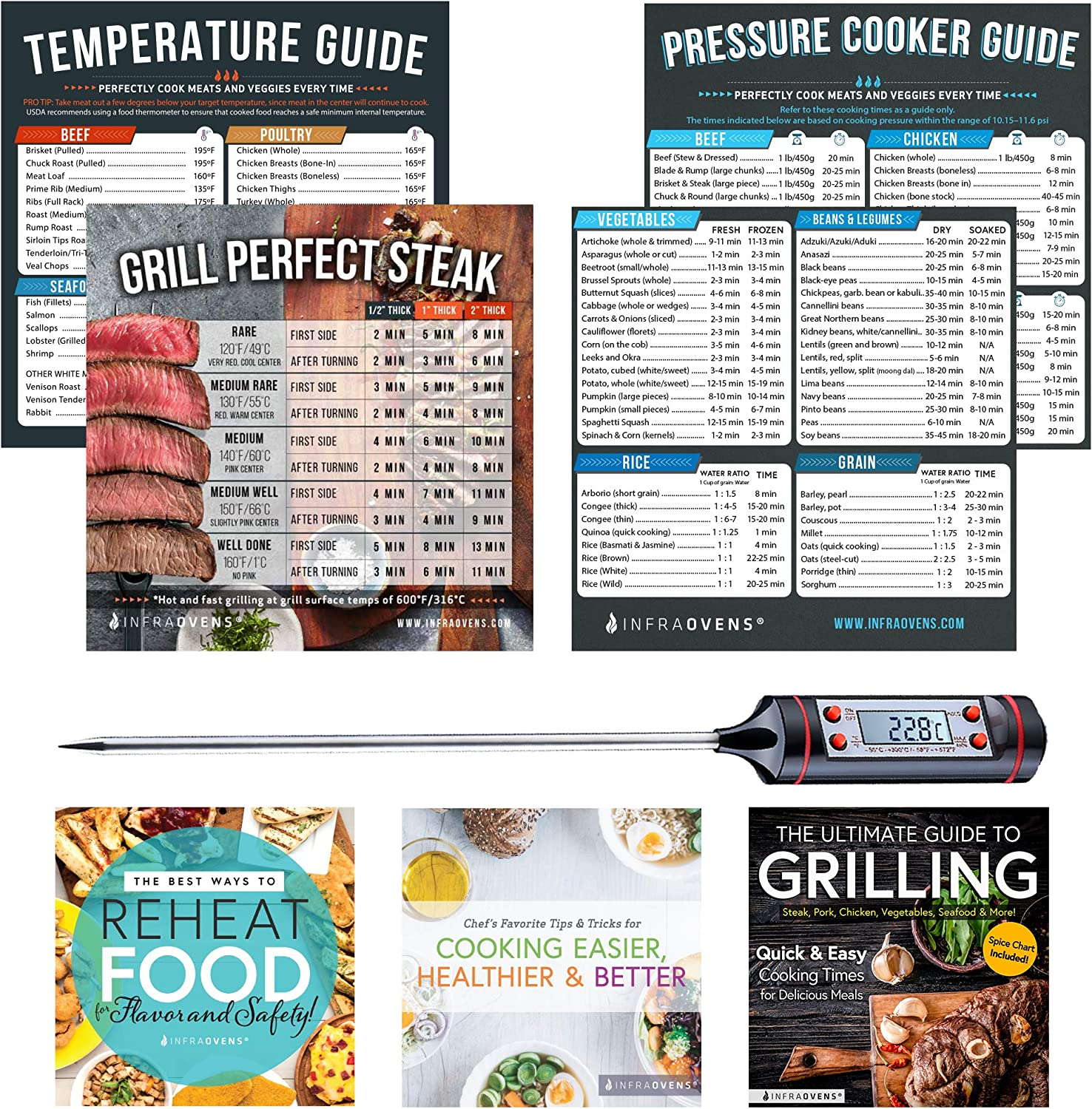 Pressure Cooker Cook Times Cheat Sheet Magnet Accessories, Cookbooks, Baking & Grilling Cooking Guides, Magnetic Temperature Chart for Quick Reference | Compatible with Instant Pot + Food Thermometer