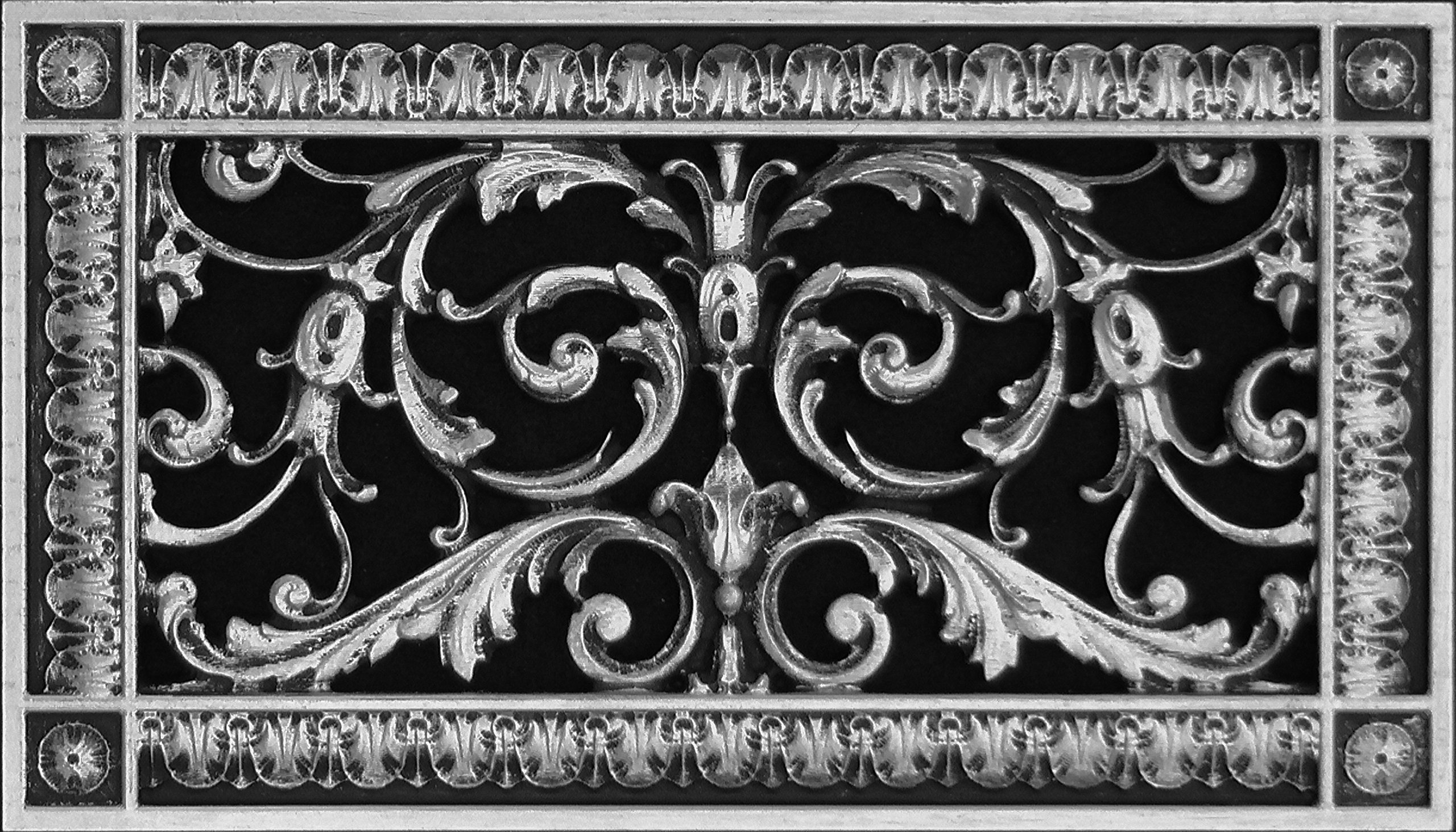 """Decorative Vent Cover, Grille, made of Urethane Resin in Louis XIV, French style fits over a 6"""" x 12"""", Total size, 8"""" by 14"""", for wall & ceiling installation only. (not for floors) (Pewter)"""