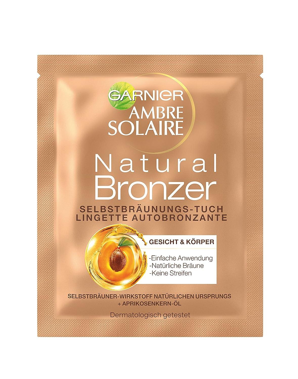 Garnier Ambre Solaire Natural Bronzer Selbstbräunungs-Tuch, für eine natürliche Bräune, zieht schnell ein, spendet Feuchtigkeit, 5,6 ml C21916