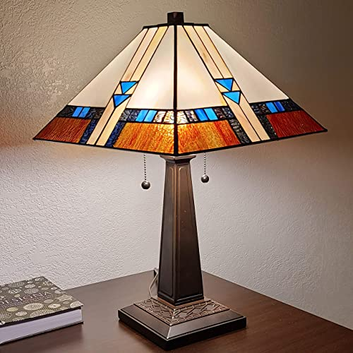 Amora Lighting Tiffany Style Table Lamp Mission 23 Tall Stained Glass Blue White Brown Vintage Antique Light D cor Nightstand Living Room Bedroom Office Handmade Gift AM243TL14B, Multicolored