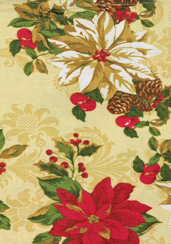 60 Inch x 102 Inch Oblong//Rectangle Lintex Poinsettia Festival Print Christmas Fabric Tablecloth Xmas Poinsettia Acorn Holiday Print Polyester Tablecloth