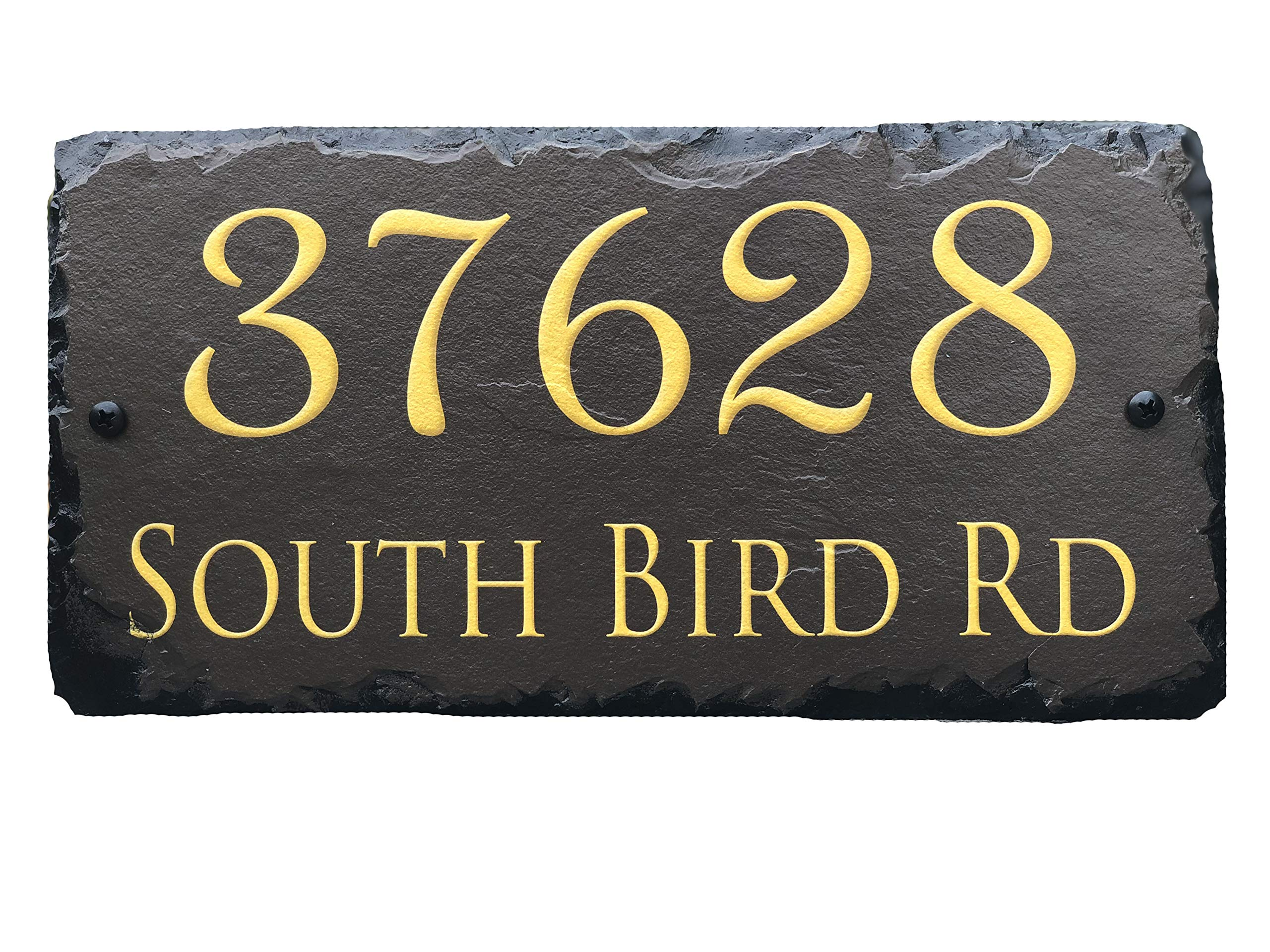 Sassy Squirrel Handcrafted and Customizable Slate Home Address Plaque Gold/Silver on Brown (12''x6'')