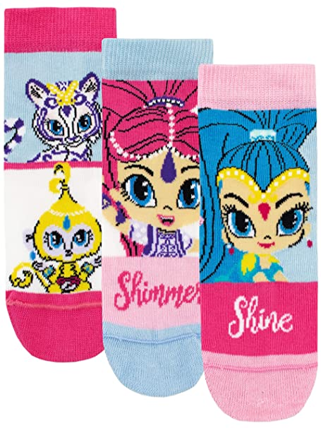 159a9ea066 Shimmer   Shine Girls Genies Socks Pack of 3 Multicoloured Size 0 to 2.5