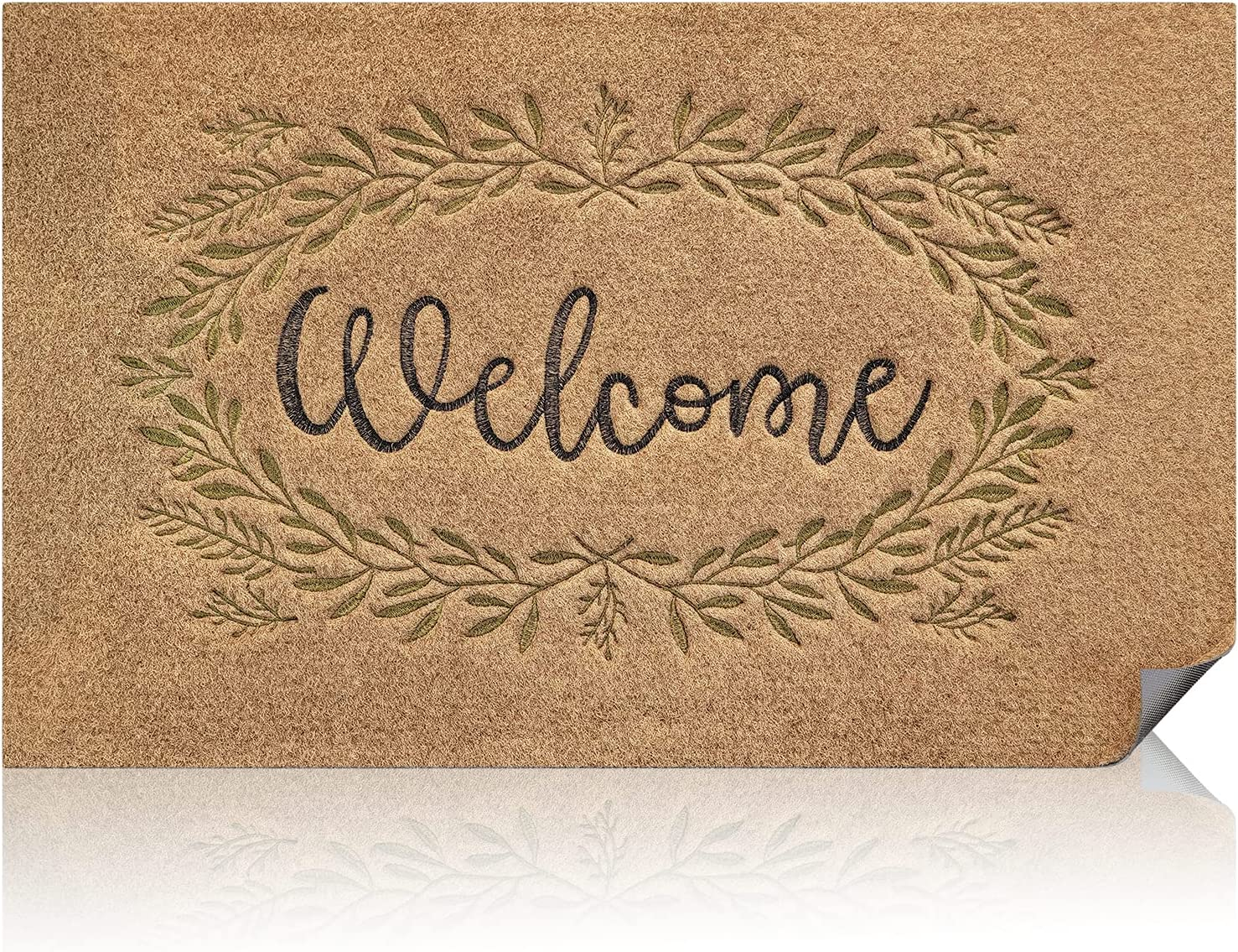 Outdoor Indoor Welcome Mat Front Back Door Outside Entrance Mat Non-Slip Rubber Backing Doormat Heavy Duty Easy Clean Low Profile Mat for Entry Dust Trapper Floor Mat, 18