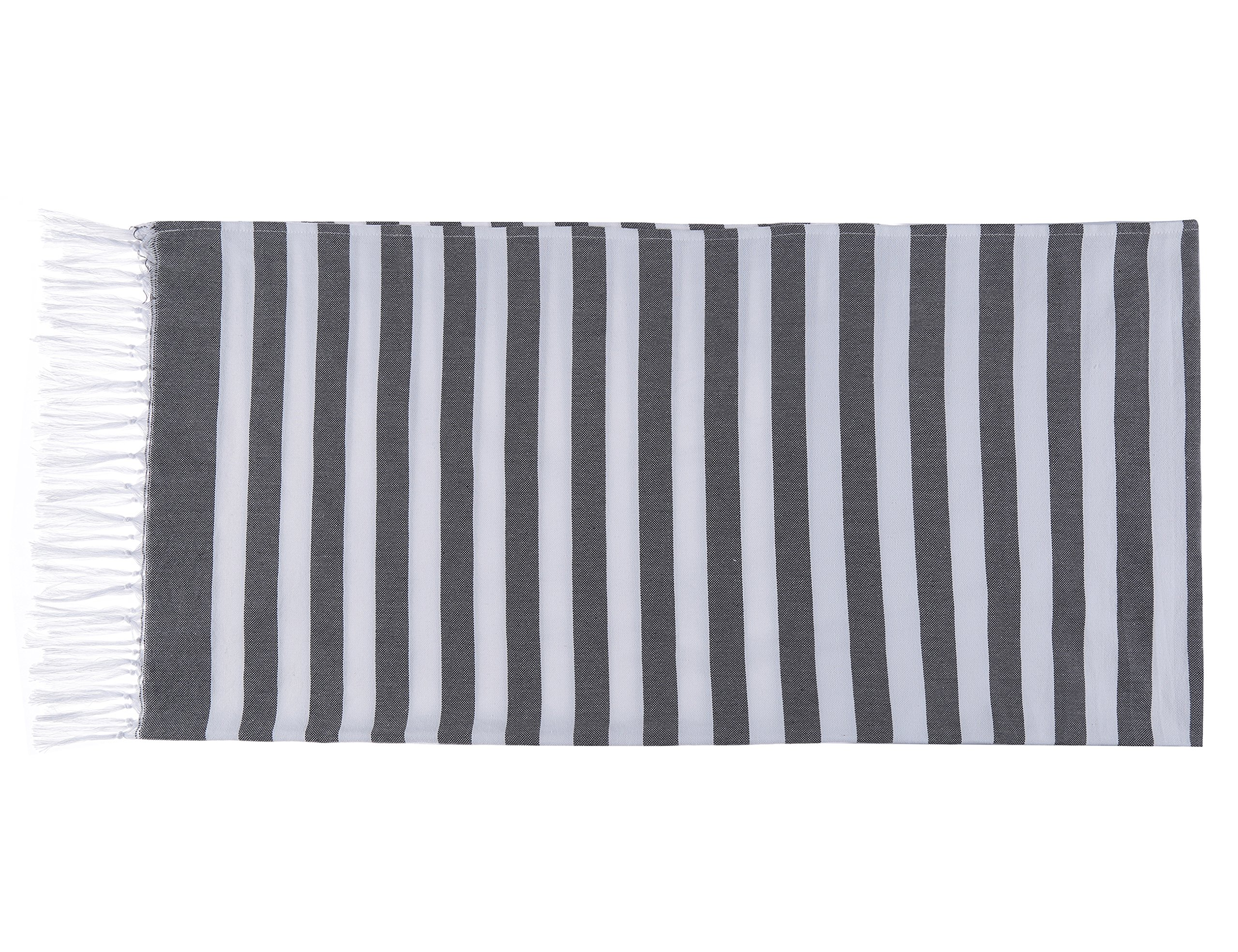 Chama 100% Cotton Extra Soft Striped Peshtemal Fouta Turkish Beach Towels Wrap Bath Towel Oversized Blanket for Baby Home Family Traveling Pool Scarf Towel Absorbency (Black&white stripes) by Chama (Image #2)