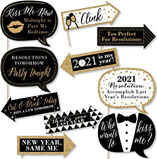 product image for Big Dot of Happiness Funny New Year's Eve - Gold - 2021 New Years Eve Party Decorations - Photo Booth Props Kit - 10 Piece