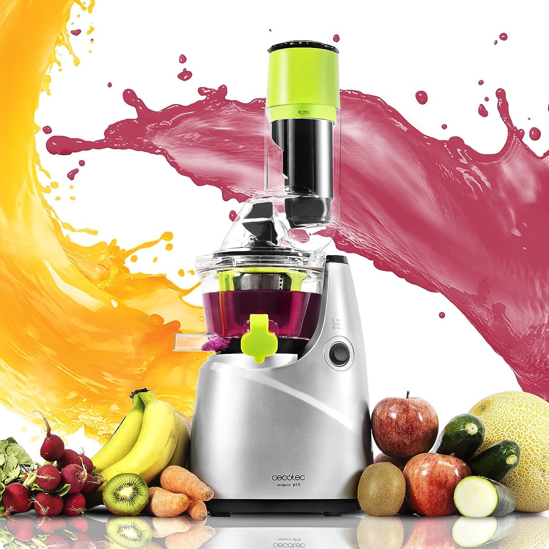 Cecotec Licuadora para frutas y verduras de prensado en frío, extractor de jugo con canal XL para fruta entera, 45 rpm, tapón antigoteo, BPA Free, ...