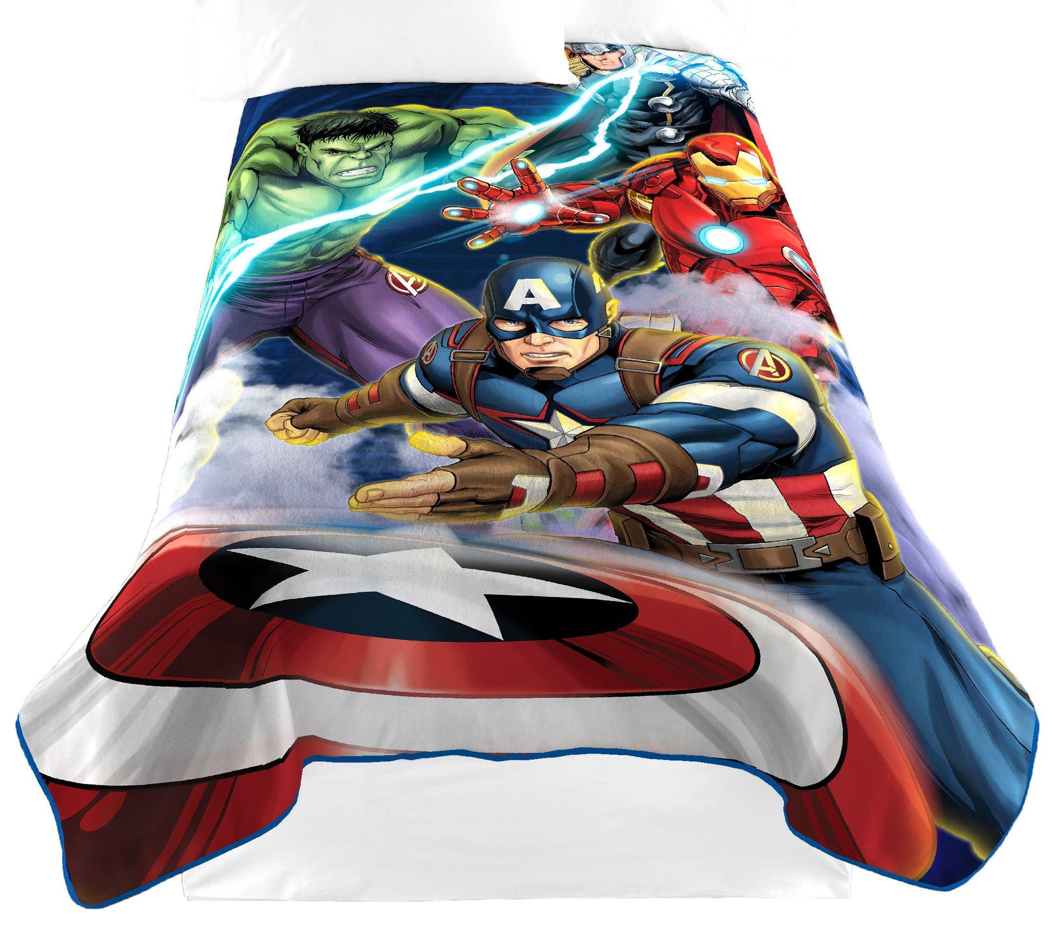 Marvel Avengers Blue Circle Fleece Plush Blanket, 62 x 90/Twin by Jay Franco (Image #1)