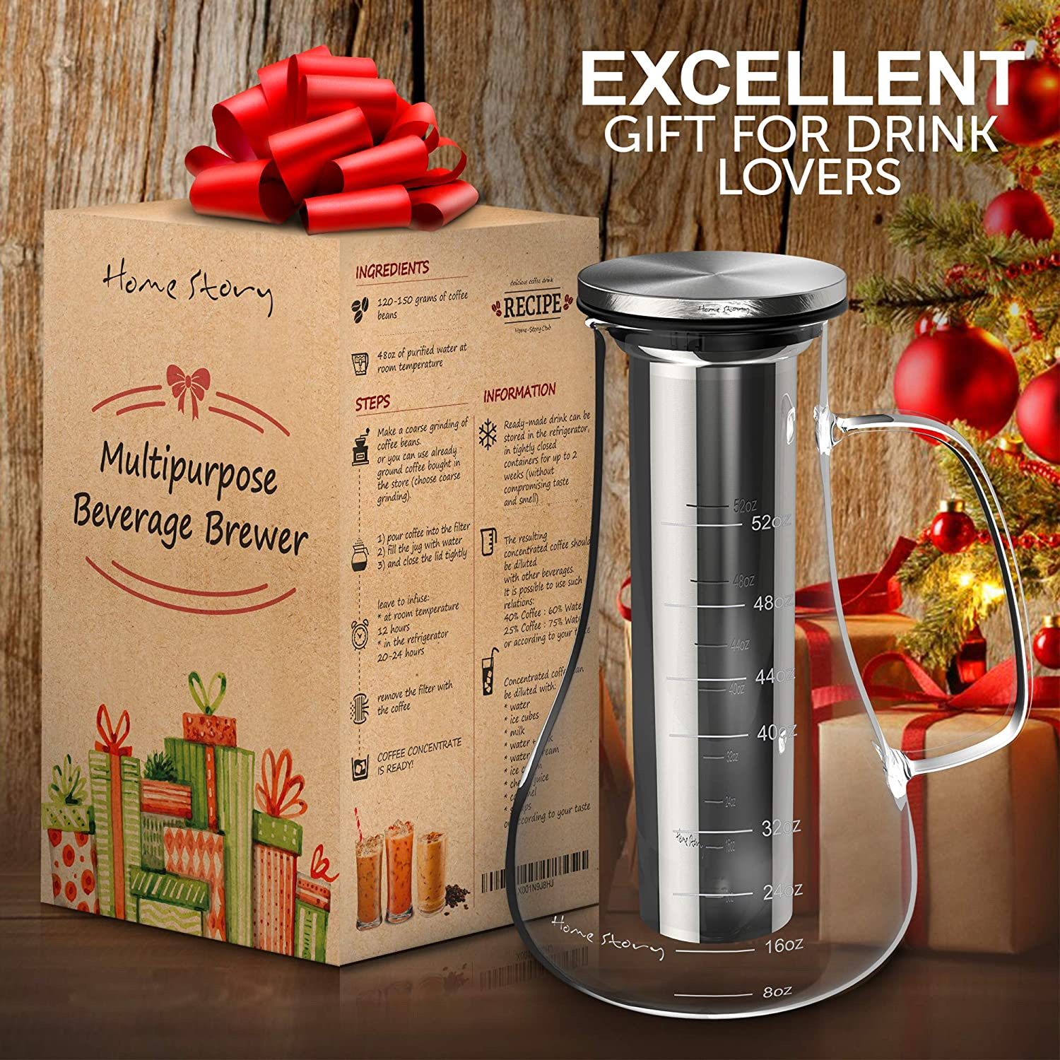 Cold Brew Coffee Maker White – Glass Cold Brew Maker Pitcher 52 oz – Iced Coffee Maker Brewer Kit – Works Even as Large Cold Press Coffee Maker Pot or Hot Iced Tea Infuser Carafe