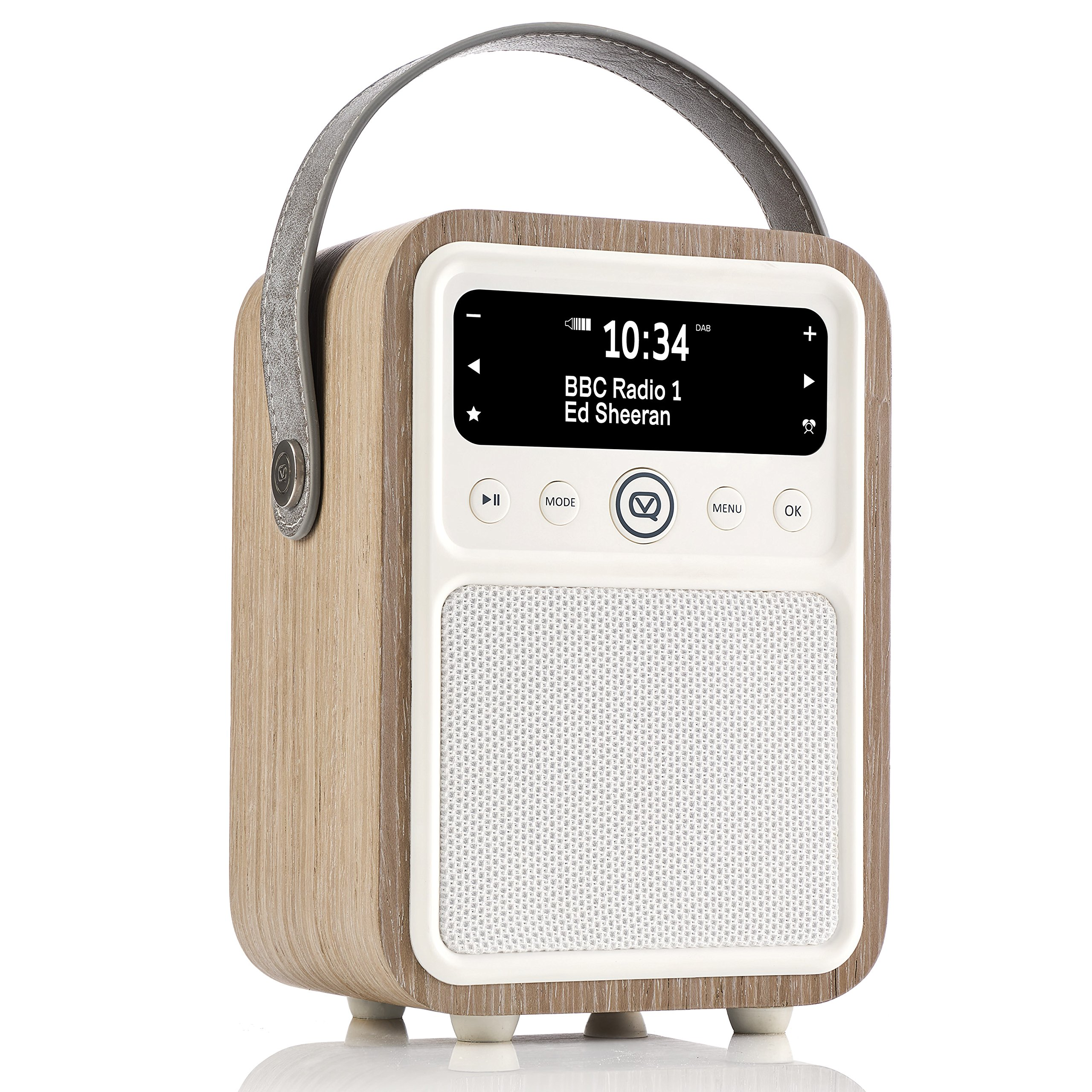 Monty by VQ | Radio & Bluetooth Speaker with AM/FM & HD Radio, Dual Alarm Clock, Mains or Battery – Real Wood Green Grass Oak Case