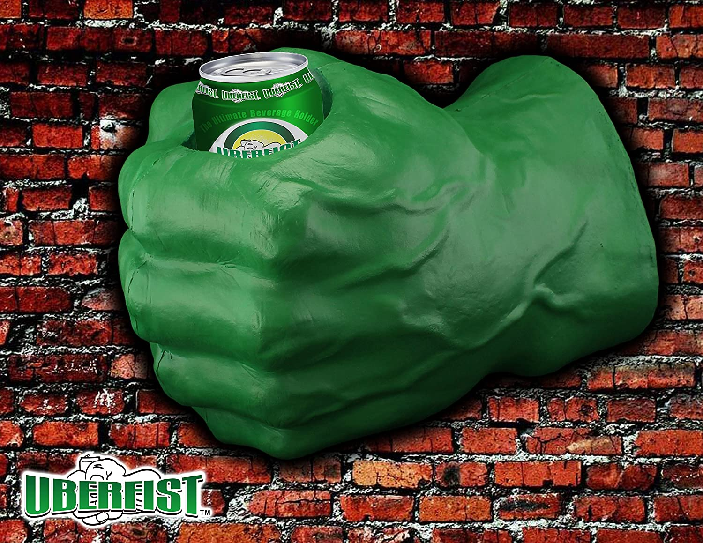 Hulk fist beverage holder, left handed, green sports fan
