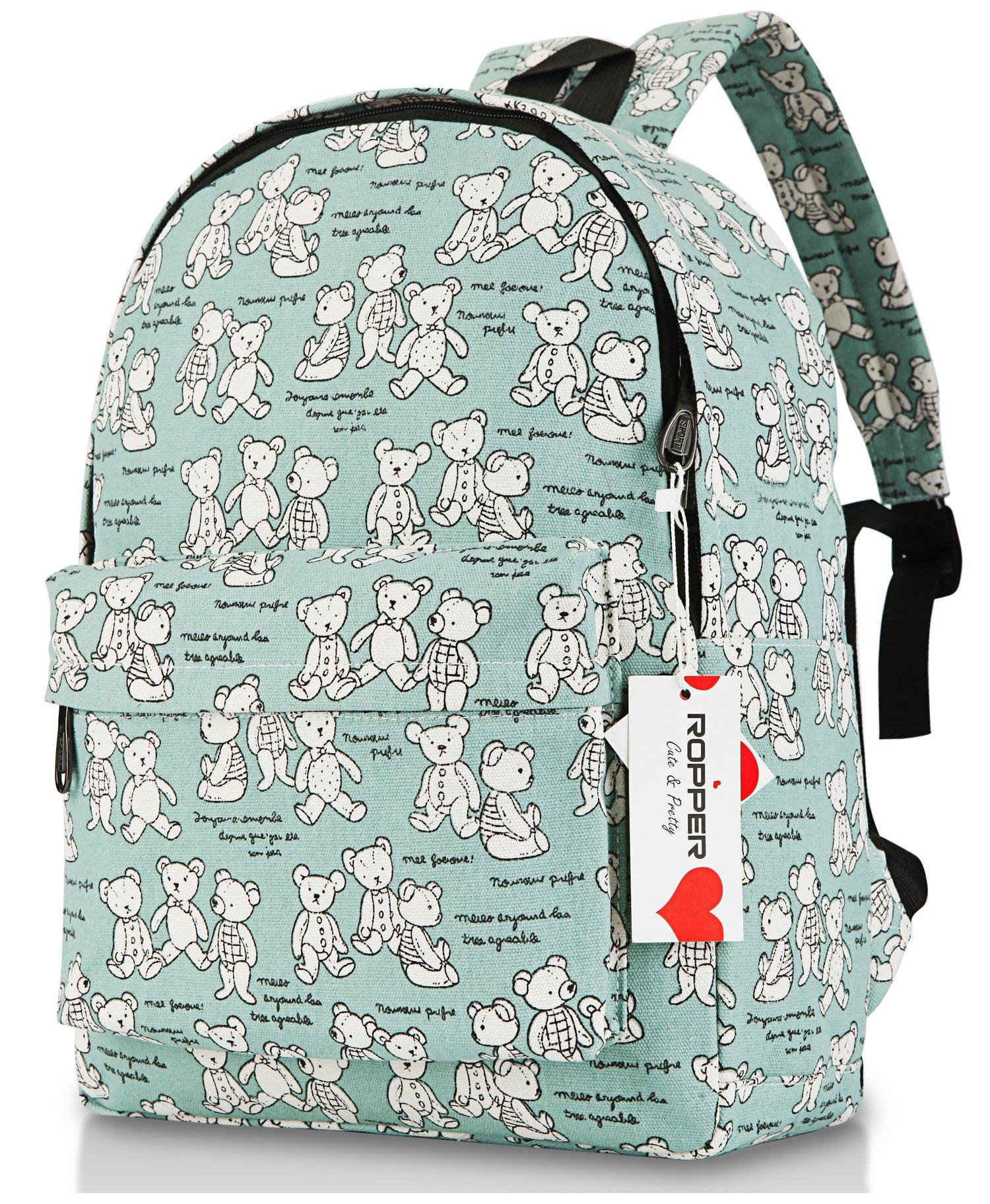 """Ropper Lightweight Canvas Cute Pattern Kids School Backpack,15"""""""