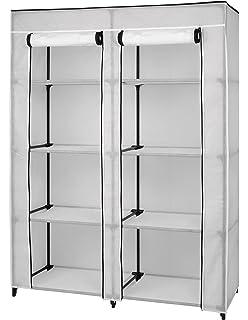 Portable Clothes Closet  Wardrobe Organizer   8 Shelf Storage   White Vinyl  Fabric   Double
