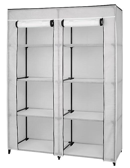 amazoncom portable clothes closet wardrobe organizer 8 shelf storage white vinyl fabric double zippered doors durable metal frame easy no tool - White Wardrobe Closet