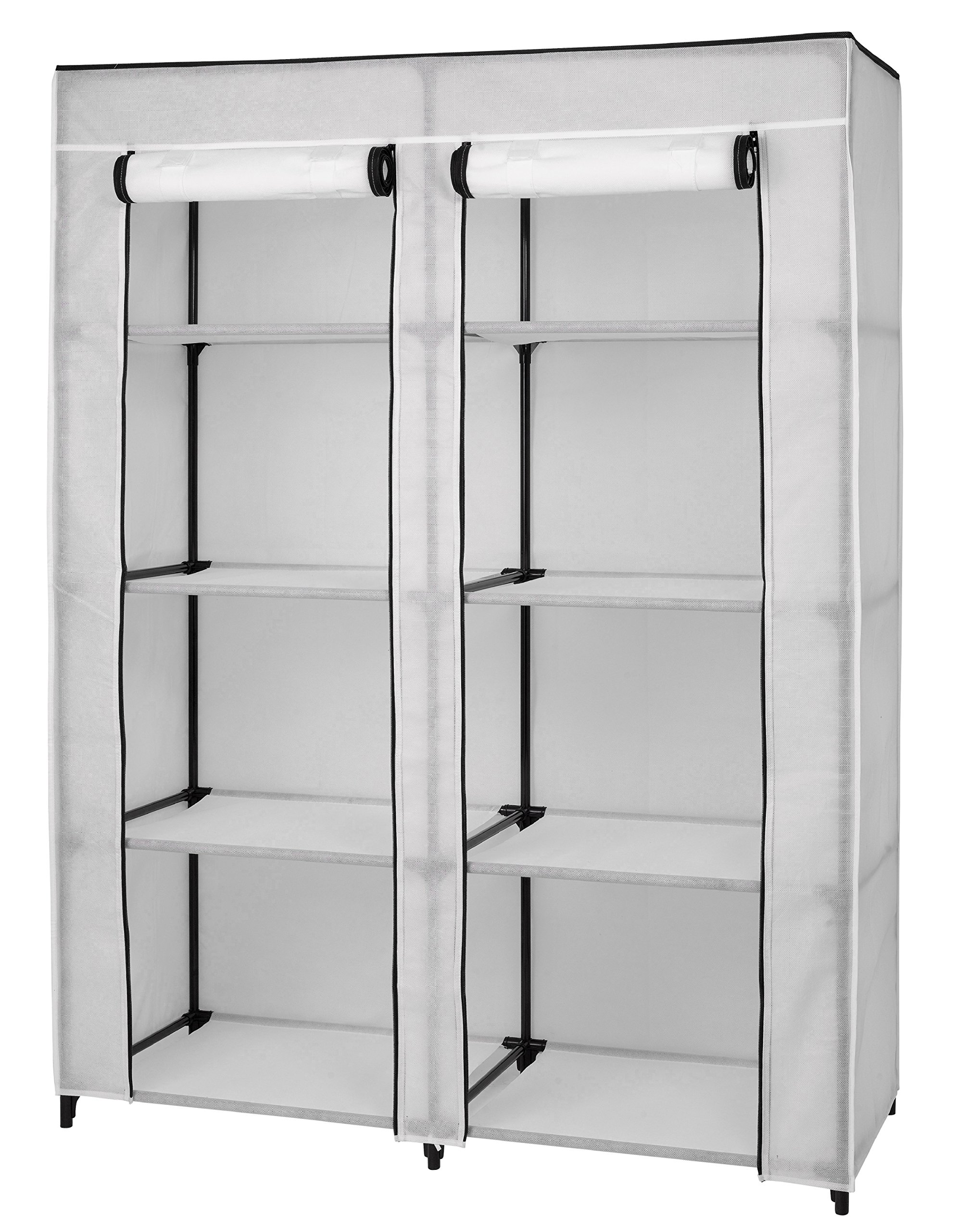Portable Clothes Closet -Wardrobe Organizer - 8 Shelf Storage - White Vinyl Fabric - Double Zippered Doors - Durable Metal Frame - Easy No Tool Assembly - 62'' H X 48'' W X 20'' D