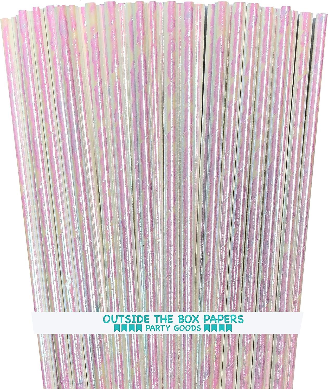 Iridescent Paper Straws - White - 7.75 Inches - 100 Pack