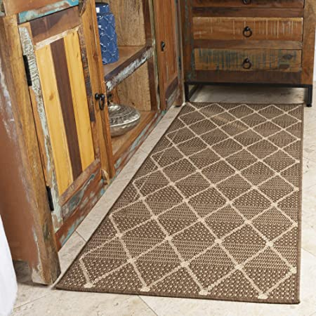 27 x 70 Brown Ottomanson Jardin Collection Contemporary Boxes Design Indoor//Outdoor Jute Backing Runner Rug