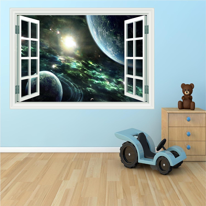 Huge 3d Space window wall art sticker decal: Amazon.co.uk: Kitchen ...
