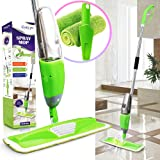 Evelyn Living Green Spray Mop With Refillable 700 ml Capacity Bottle With Free 2 Replaceable Microfibre Pad & 3 In Scrapper Ideal For Hardwood, Laminate, Wood, Wet And Dry Vinyl & Tiles Floor Cleaning