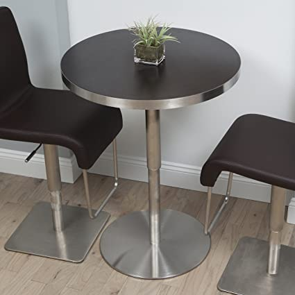 In The Mix MIX Brushed Stainless Steel Round Wood Laminate Espresso  Adjustable Height Swivel Bar Table