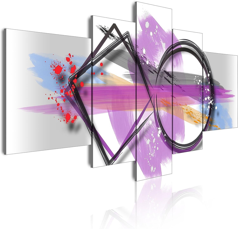DekoArte - Cuadros Modernos Impresión de Imagen Artística Digitalizada | Lienzo Decorativo Para Tu Salón o Dormitorio | Estilo Abstracto Moderno Colores Plata Blanco Morado | 5 Piezas 180 x 85 cm XXL