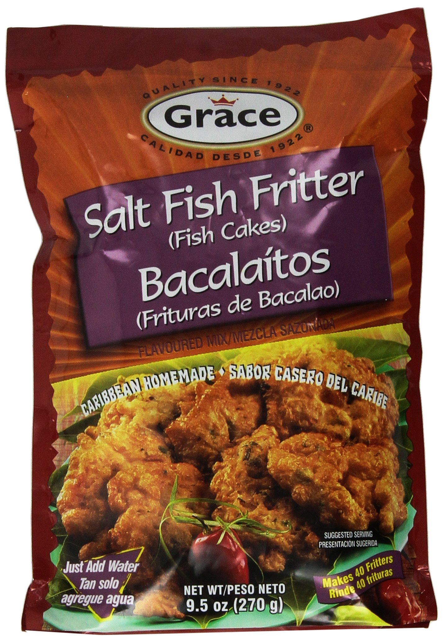 Grace Salt Fish Fritter Mix, makes 40 fritters, 9.5 oz