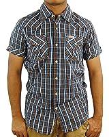 SCOTCH & SODA Men's Short Sleeve Check Trim Fit Shirt, Large, Navy/Chocolate,