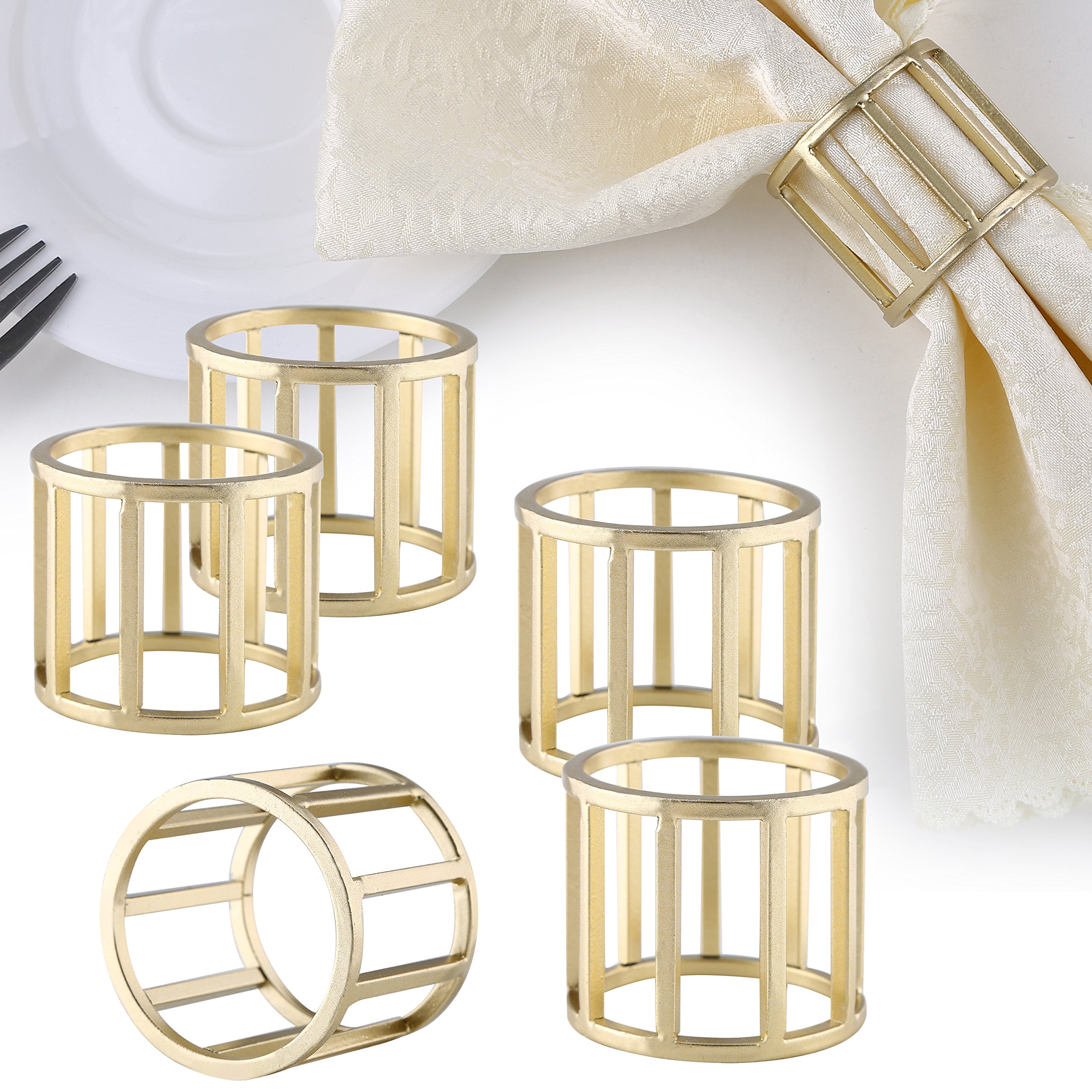 Set of 6 Modern Design Round Metal Dining Napkin Ring Holders, Brass-Tone by MyGift