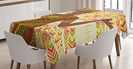 Superbe African Woman Tablecloth By Ambesonne, Dancing Woman Hand Drawing Ethnic  Geometric Ornament Colorful Print,