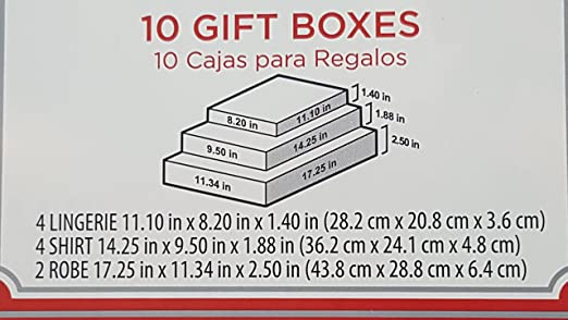 Amazon.com: Santa Holiday Time 10 Gift Box Sets. Christmas and Holidays Gift Boxes, Box set sizes: 4 Lingerie 11.10X8.20X1.40, 4 Shirt 14.25X9.50X1.88, ...