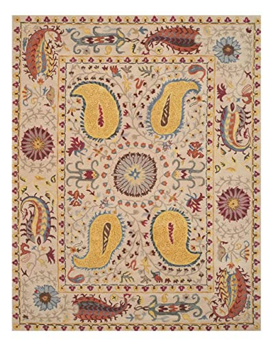 EORC Hand Tufted Wool Paisley Rug, 8 9 x 11 9, Ivory
