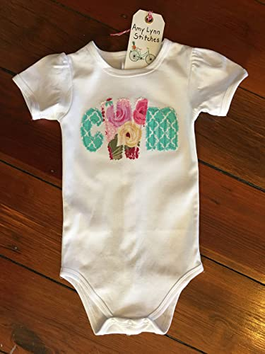 89b093a5cd530 Amazon.com: Baby Girl Personalized Bodysuit Infant Girl Monogram ...