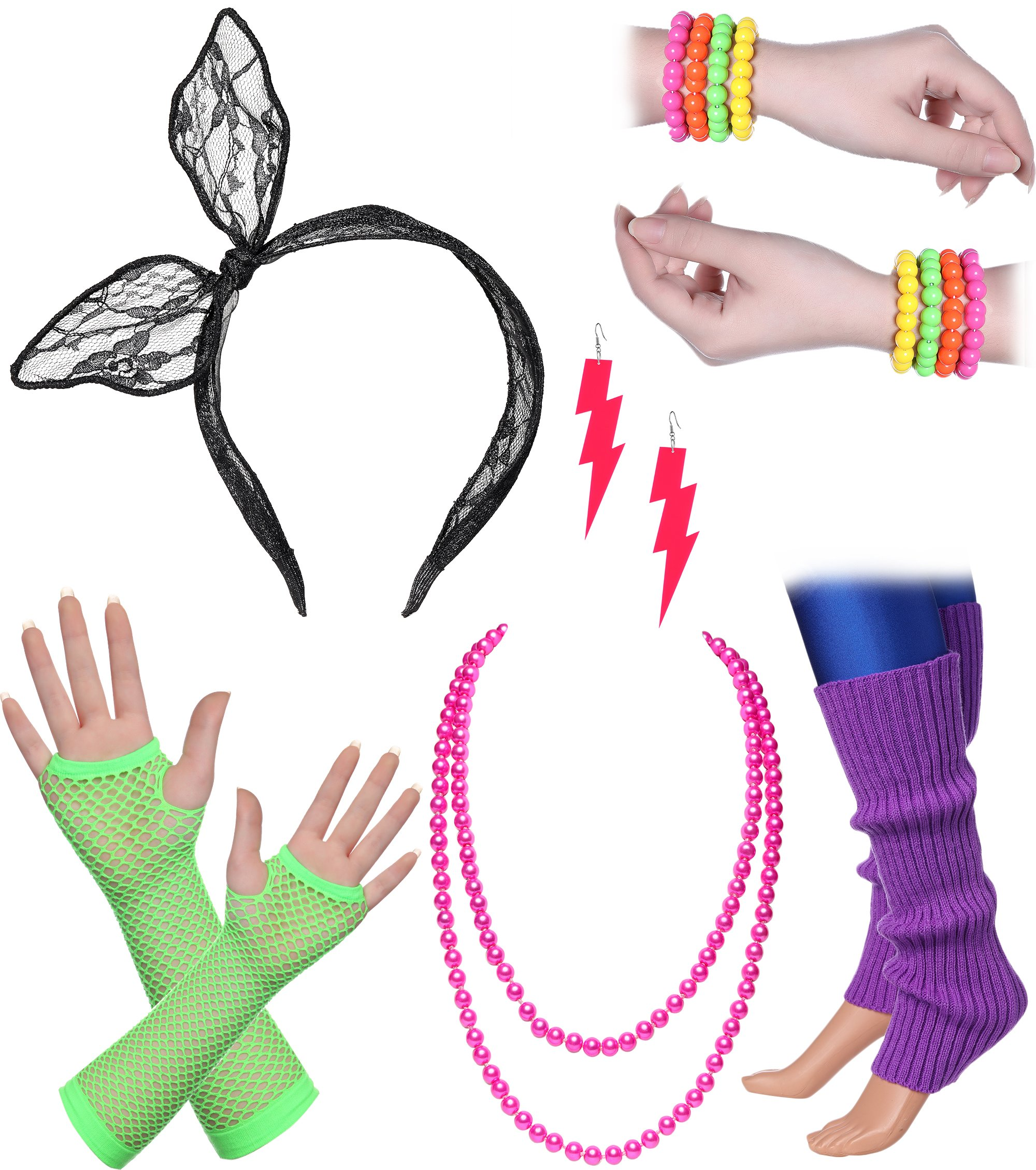 BABEYOND 80s Outfit Costume Accessories Neon Earrings Fishnet Gloves Leg Warmers Headband Bracelets (Set 11)