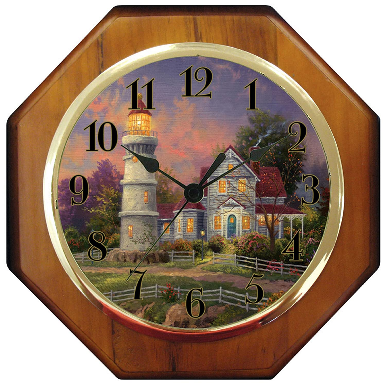 Amazon thomas kinkade 10 wood wall clock victorian light amazon thomas kinkade 10 wood wall clock victorian light home kitchen amipublicfo Images