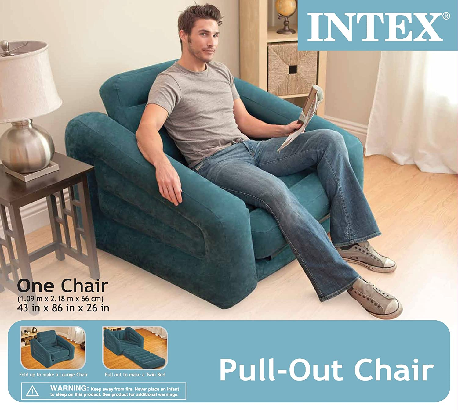 "Amazon Intex Pull out Chair Inflatable Bed 42"" X 87"" X 26"