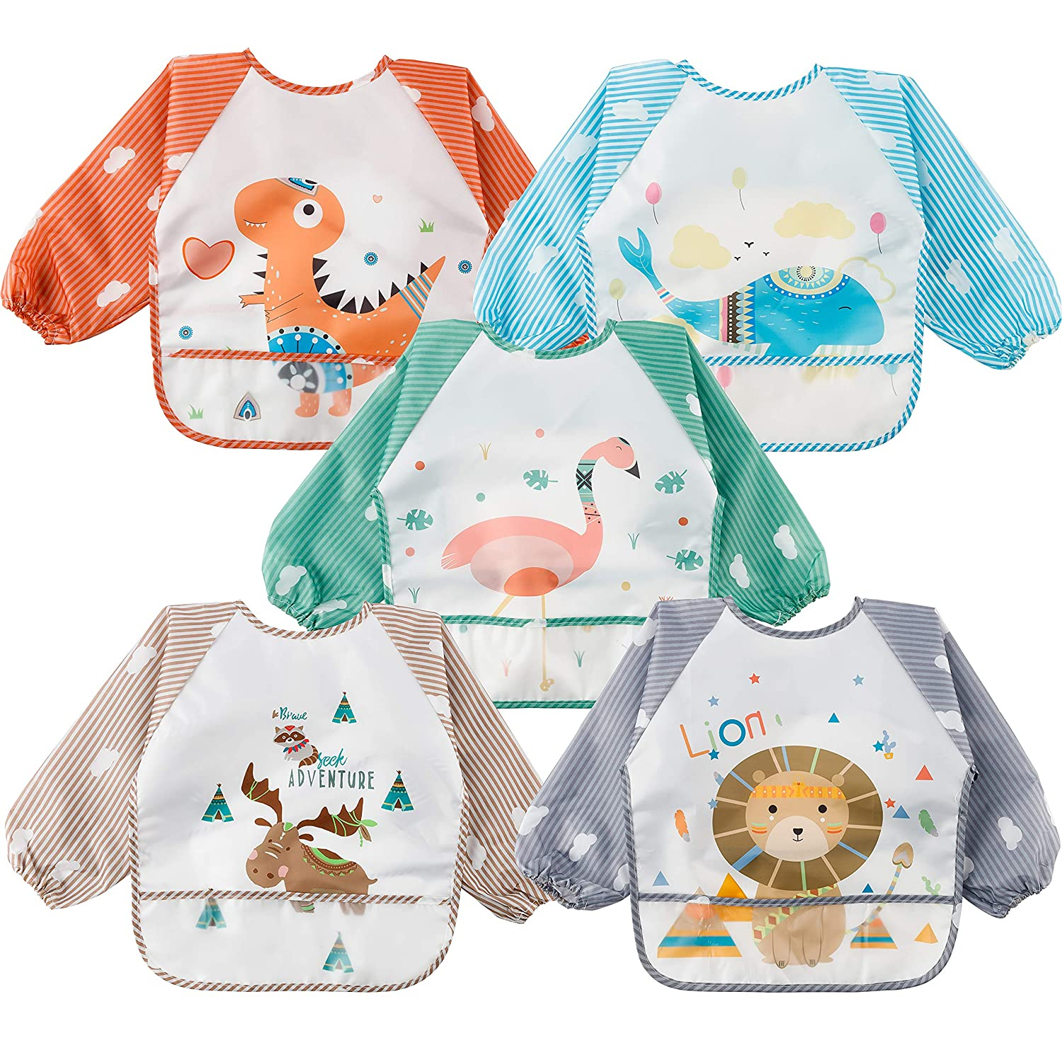 5Pcs Long Sleeved Bib for Babies Toddlers Waterproof Sleeved Bib with Crumb Catcher Pocket Colorful Food Bib Infants Feeding Bibs with Animals Pattern Gift for Baby Shower 6-36 Months