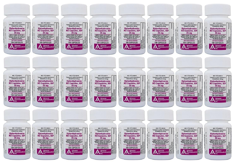 Diphenhydramine 25 mg 2,400 Capsules Generic Benadryl Allergy Medicine and  Antihistamine
